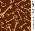 Vintage key seamless background. - stock vector