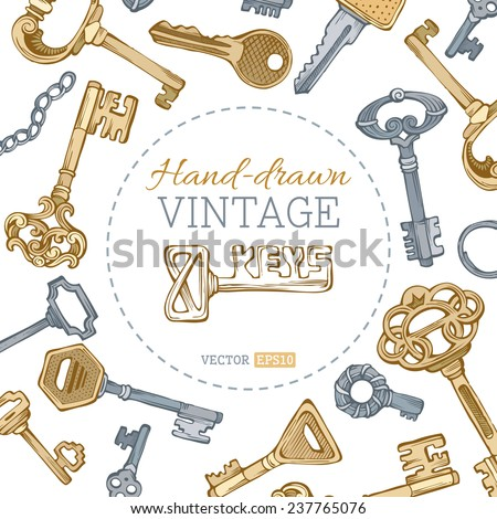Vintage keys background. Gold and silver vintage keys on white background. There is place for your text in the center.  - stock vector