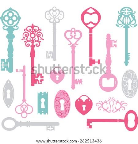Vintage Keys Silhouette.Pink,Blue,Grey. - stock vector