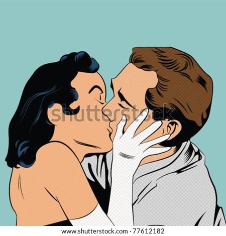 Vintage kiss - stock vector