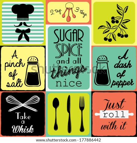 Vintage Kitchen Collection - stock vector