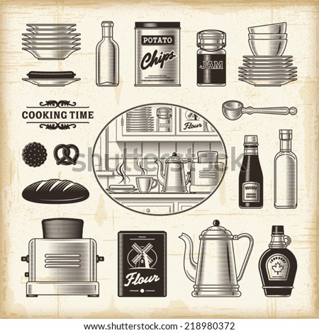 Vintage kitchen set. Fully editable EPS10 vector. - stock vector