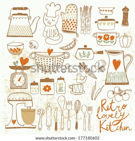 Vintage kitchen set in vector. Stylish design elements: pepper-box, fork, spoon, bowl, pan, mixer, scales, colander, knife and others - stock vector