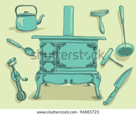 Vintage kitchen supplies - stock vector