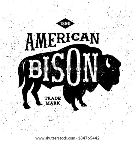 American Bison Head Vintage Label American Bison