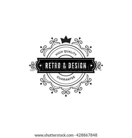 Vintage Label Badge Logo Design Vector Stock Vector - Luxury word flash card template concept
