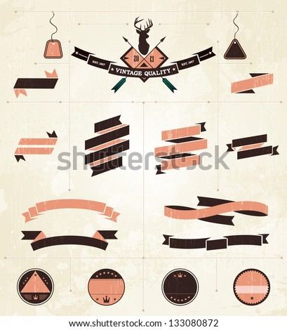 Vintage label collection - EPS10 Compatibility Required - stock vector