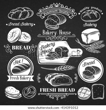 Vintage Label Decorative Bread, Calligraphic Design Elements. Hand drawn bread for brochures, banner, restaurant menu and market .Vector Illustration in chalkboard style. - stock vector