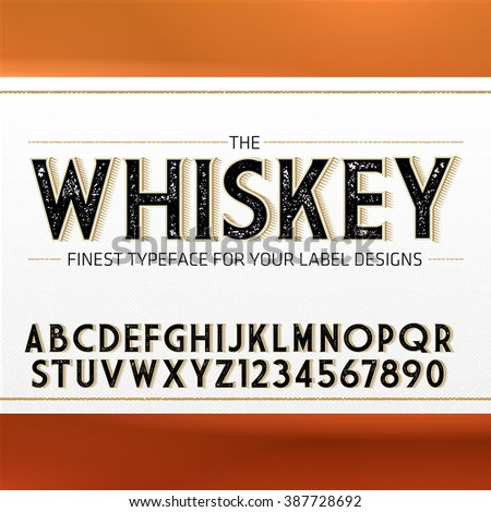 Vintage Label Font with decorative shadow. Retro whiskey fine label alphabet with decorative elements - stock vector