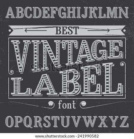 Vintage label font with stripes inside and simple shadow - stock vector