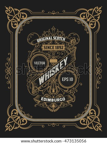 Vintage label for whiskey. You can apply this design for another products too. Vector illustration