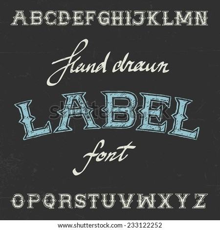 Vintage label hand drawn font on dusty noise background - stock vector