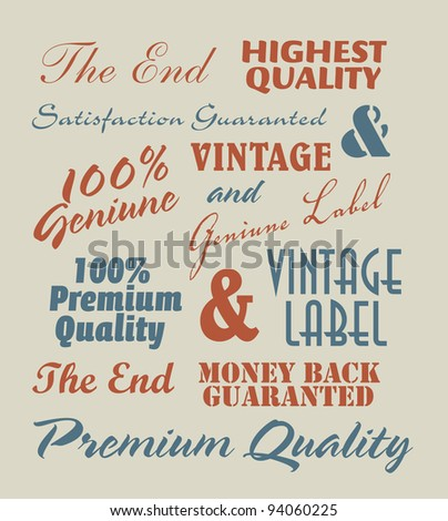 vintage label inscriptions - stock vector