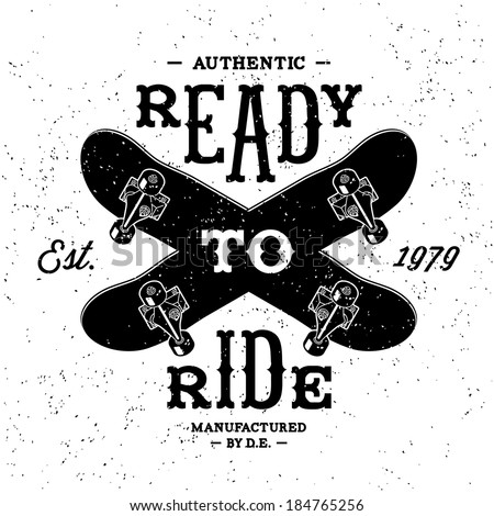 vintage label  Ready To Ride ( T-Shirt Print ) - stock vector