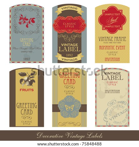 Vintage label set - stock vector