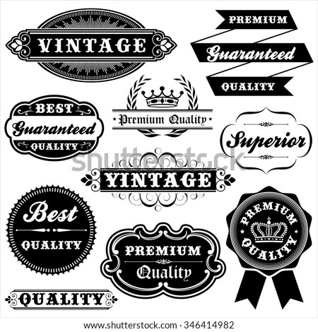 Vintage Label Set - Set of vintage labels and frames.  Each label is grouped. - stock vector