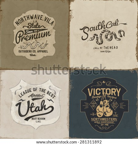 vintage label sign with type - stock vector