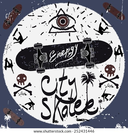Vintage Label, skateboard style. Typography vector Elements. City skater poster. - stock vector