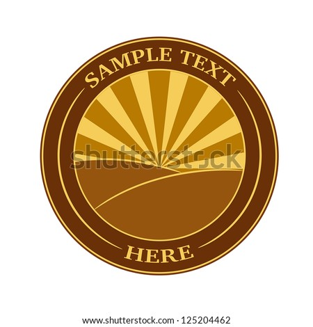 Vintage label with fields and sun rays background - stock vector