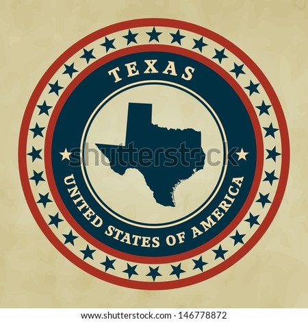 Vintage label with map of Texas, vector - stock vector