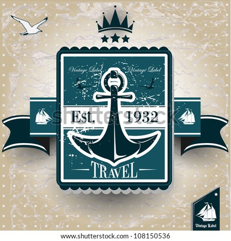 vintage label with maritime character - stock vector