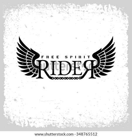 Vintage label with word 'Rider', wings and chain on grunge background for t-shirt print, poster, emblem. Vector illustration. - stock vector