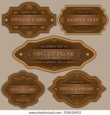 Vintage labels and frames.Vector set of calligraphic Vintage labels and frames design elements. - Illustration - stock vector