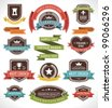 Vintage labels and ribbon retro style set. Vector design elements. - stock