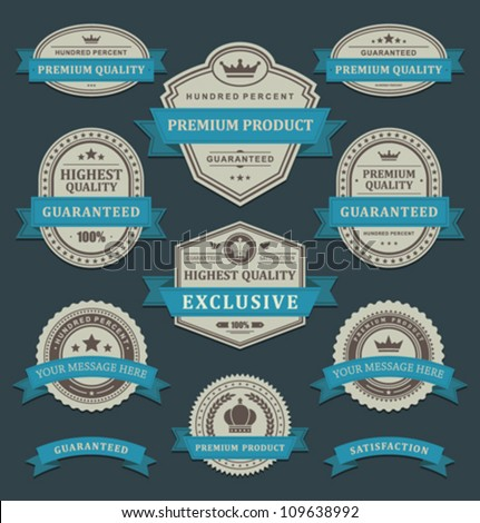 Vintage labels and ribbons retro style set. Vector design elements. - stock vector