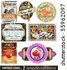 Vintage Labels Collection - 7design elements with original antique style -Set 7 - stock vector