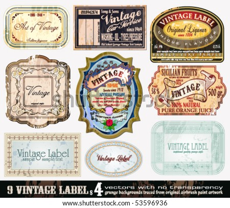 Vintage Labels Collection - 9 design elements with original antique style -Set 4 - stock vector
