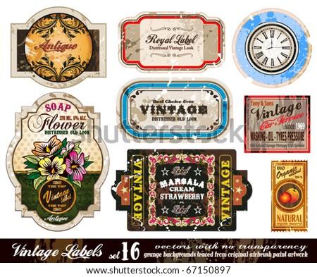 Vintage Labels Collection - nine design elements with original antique style -Set 16 - stock vector