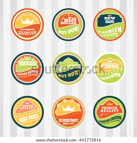 Vintage labels for commerce and premium trade vector set on the circles. Retro badges vector set for internet commerce. Vector set of labels for promotion premium goods. - stock vector
