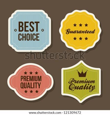 vintage labels over brown background. vector illustration - stock vector