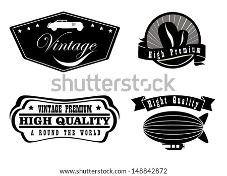 vintage labels over white background vector illustration  - stock vector