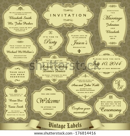 Vintage labels set 1 - stock vector