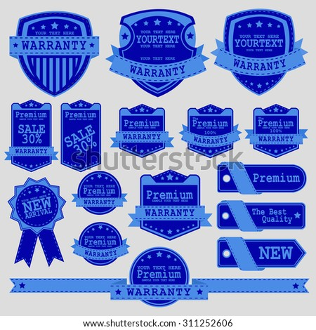 Vintage Labels set. Place your logo on shield. Copyspace. Shield with ribbon and crown. Coat of arms. Retro design. High quality. - stock vector