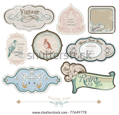 vintage labels set, vector - stock vector