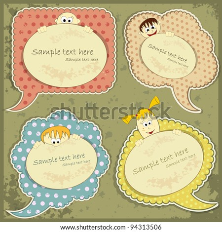 vintage labels set with people - vector illustration - stock vector