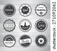 Vintage Labels template set: super, original, new, best choice, travel. Retro badges for your design on wooden background. Vector illustration.