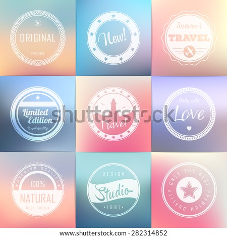Vintage labels template set: super, original, new, best choice, travel. Retro badges for your design on blurred backgrounds. Vector illustration. - stock vector
