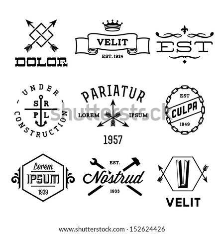 vintage labels with anchor, crown, arrow, hammer - stock vector