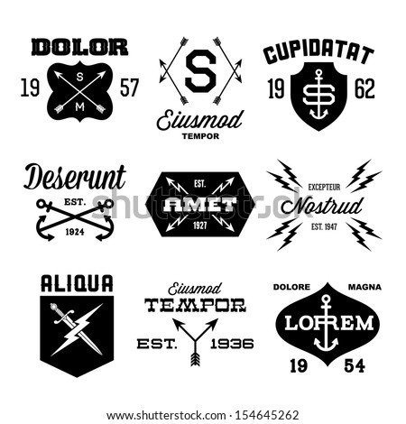 vintage labels with arrow, shield, lightning, anchor - stock vector