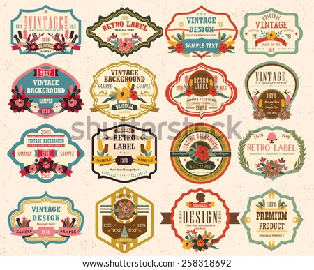 vintage labels with flower 2 - stock vector