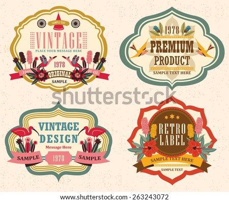 vintage labels with flower 3 - stock vector