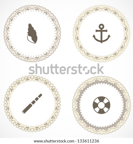 Vintage labels with icons - stock vector