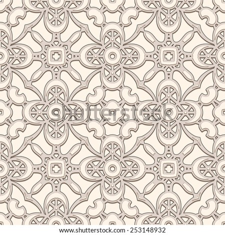 Vintage lace background, lacy ornament, vector seamless pattern  - stock vector