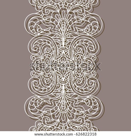 Vintage Lace Border Pattern Linear Ornament Stock Vector 626822318