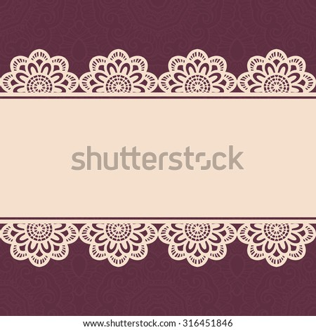 Vintage lace border, seamless background. - stock vector