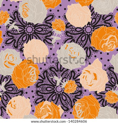 Vintage  Lace Roses Seamless Pattern. Copy that square to the side and you'll get seamlessly tiling pattern which gives the resulting image ability to be repeated or tiled without visible seams. - stock vector
